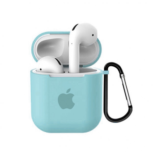 Чехол для AirPods 1 / 2 Silicone Case with Apple (Sea Blue)