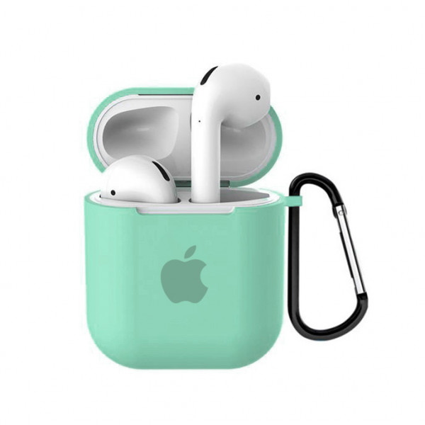 Чехол для AirPods 1 / 2 Silicone Case with Apple (Spearmint)