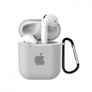 Чехол для AirPods 1 / 2 Silicone Case with Apple (Stone)