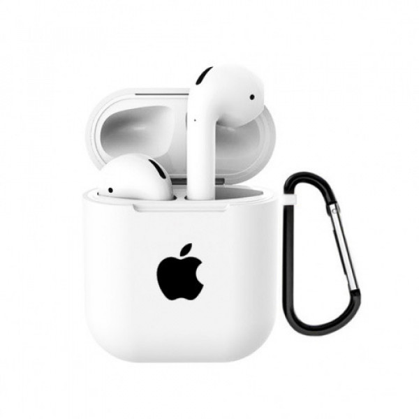 Чехол для AirPods 1 / 2 Silicone Case with Apple (White)