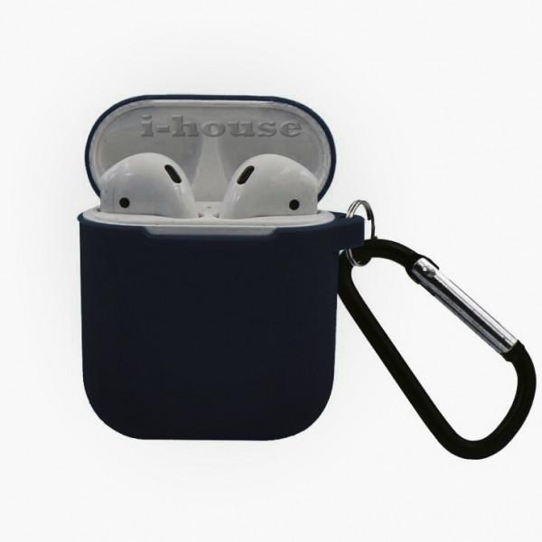 Чехол для AirPods Silicone Slim Case с Карабином Black