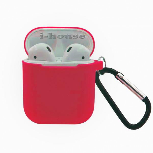 Чехол для AirPods Silicone Slim Case с Карабином Red