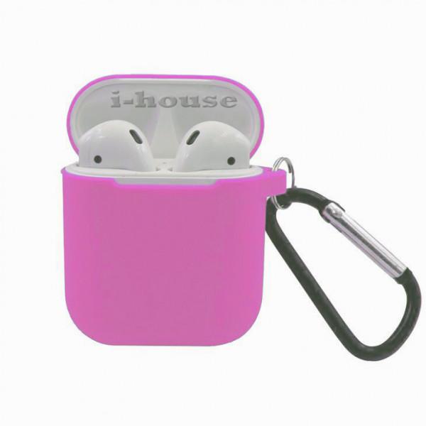 Чехол для AirPods Silicone Slim Case с Карабином Pink