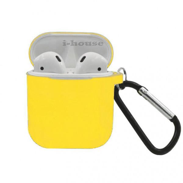 Чехол для AirPods Silicone Slim Case с Карабином Yellow