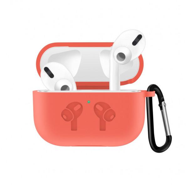 Чехол для AirPods Pro Silicone Logo с карабином (Coral)