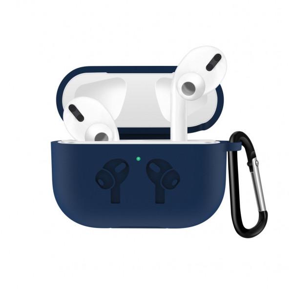 Чехол для AirPods Pro Silicone Logo с карабином (Midnight Blue)