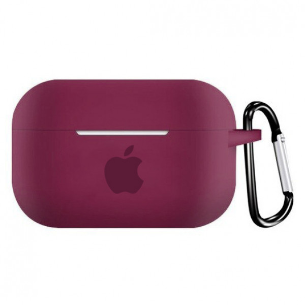 Чехол для AirPods PRO Silicone Case with Apple (Rose Red)