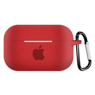 Чехол для AirPods PRO Silicone Case with Apple (Red)