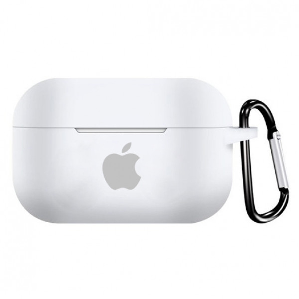 Чехол для AirPods PRO Silicone Case with Apple (White)