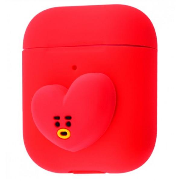 Чехол для Airpods 1 / 2 BT21 Silicone Case Tata (Red)