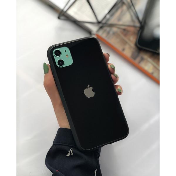 Чехол Glass Pastel color Logo для iPhone 11 (Black)