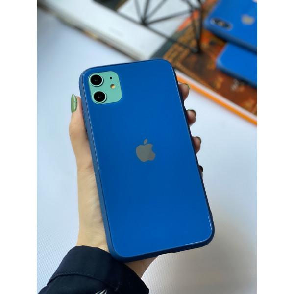 Чехол Glass Pastel color Logo для iPhone 11 (Blue)