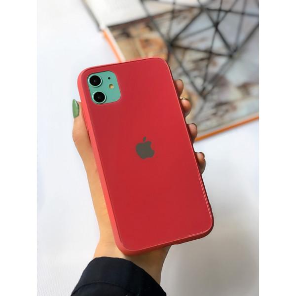 Чехол Glass Pastel color Logo для iPhone 11 (Camellia)