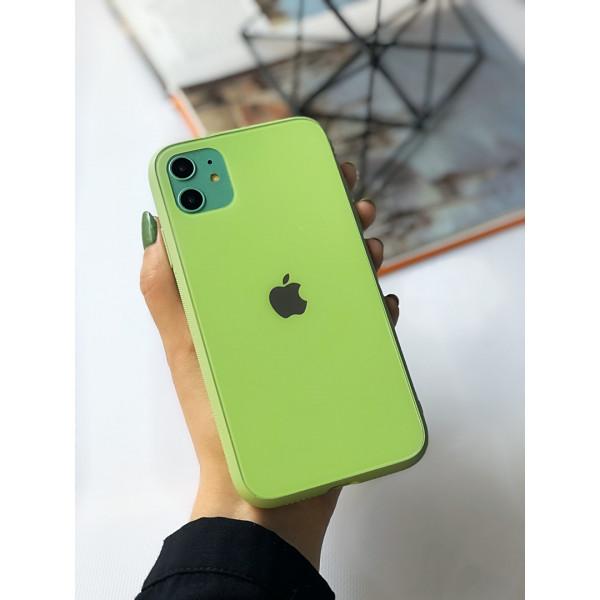 Чехол Glass Pastel color Logo для iPhone 11 (Mint)