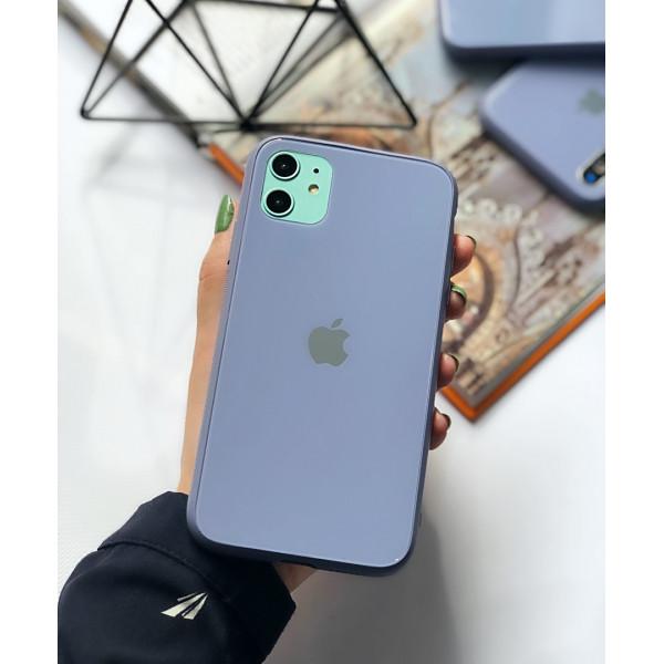 Чехол Glass Pastel color Logo для iPhone 11 (Lavender Gray)