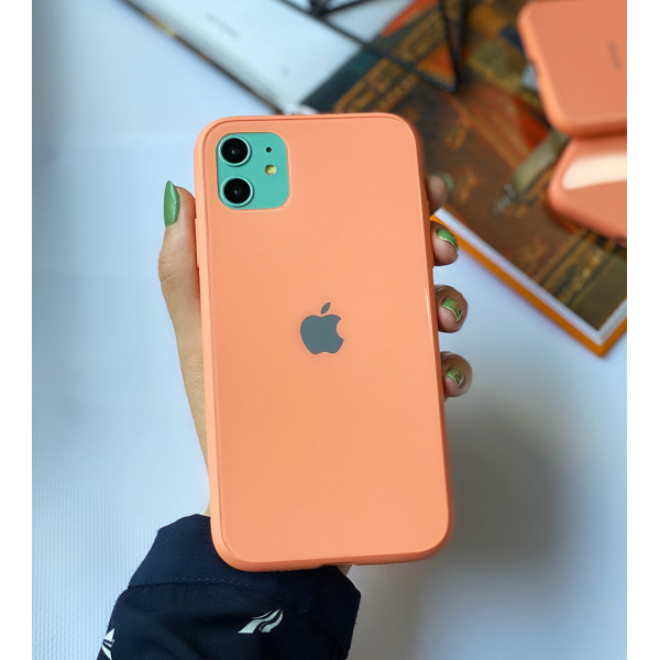Чехол Glass Pastel color Logo для iPhone 11 (Peach)
