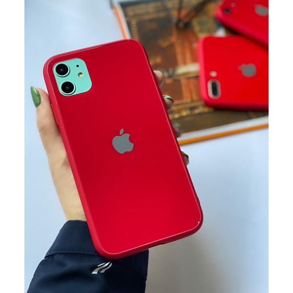 Чехол Glass Pastel color Logo для iPhone 11 (Red)