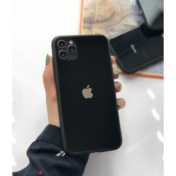 Чехол Glass Pastel color Logo для iPhone 11 Pro Max (Black)