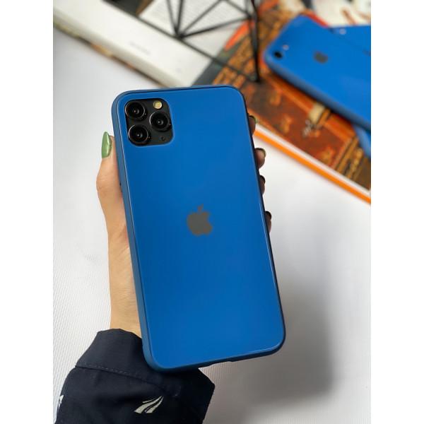 Чехол Glass Pastel color Logo для iPhone 11 Pro Max (Blue)