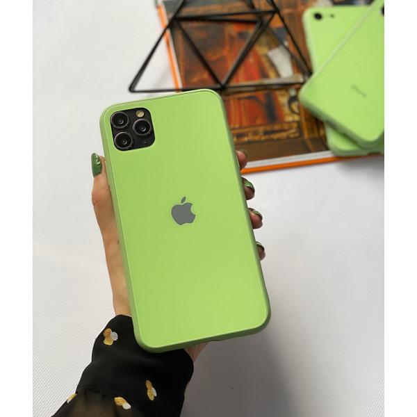 Чехол Glass Pastel color Logo для iPhone 11 Pro (Mint)