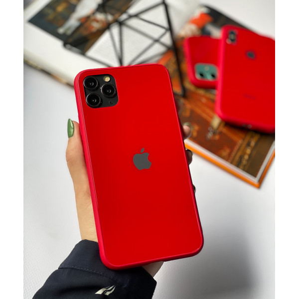 Чехол Glass Pastel color Logo для iPhone 11 Pro Max (Red)