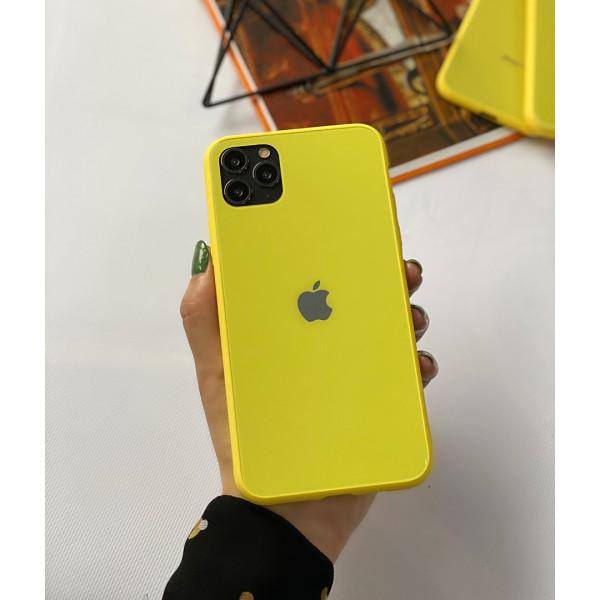 Чехол Glass Pastel color Logo для iPhone 11 Pro Max (Yellow)