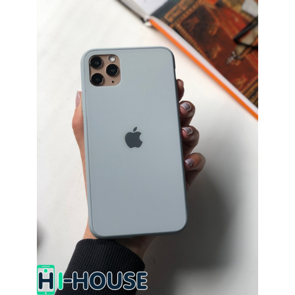 Чехол Glass Pastel color Logo для iPhone 11 Pro (Mist Blue)
