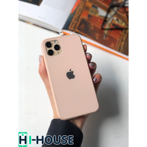 Чехол Glass Pastel color Logo для iPhone 11 Pro (Pink Sand)