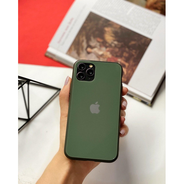 Чехол Glass Pastel color Logo для iPhone 11 Pro Max (Forest Green)