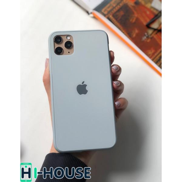 Чехол Glass Pastel color Logo для iPhone 11 Pro Max (Mist Blue)