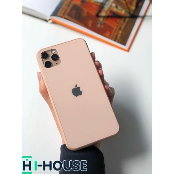 Чехол Glass Pastel color Logo для iPhone 11 Pro Max (Pink Sand)