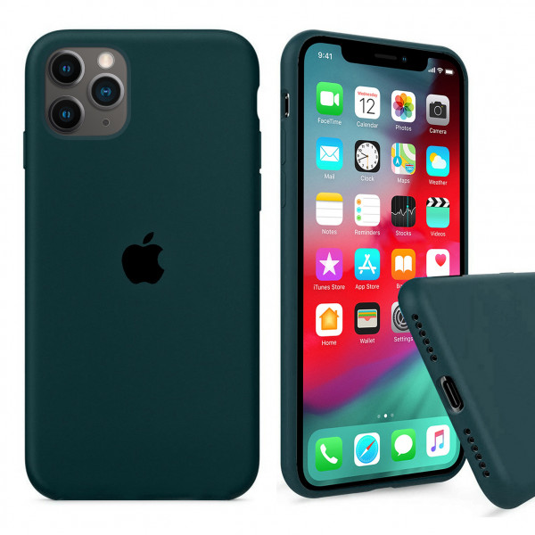 Чехол Silicone Case Full для iPhone 11 Pro Max (Forest Green)