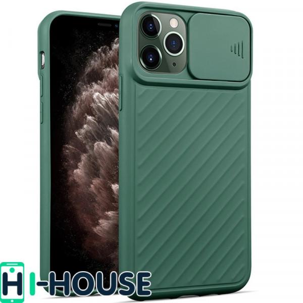 Чехол для iPhone 11 Pro Max CamShield (со шторкой для защиты камеры) TPU (Green)