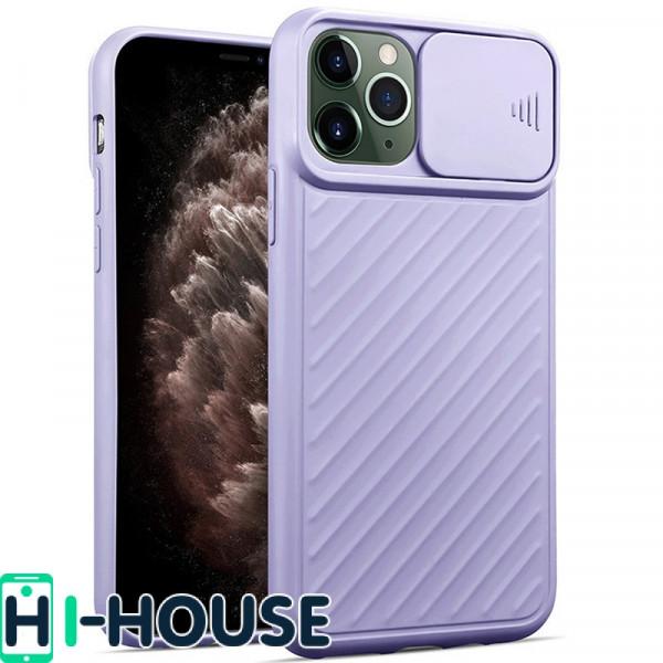 Чехол для iPhone 11 Pro Max CamShield (со шторкой для защиты камеры) TPU (Lilac)