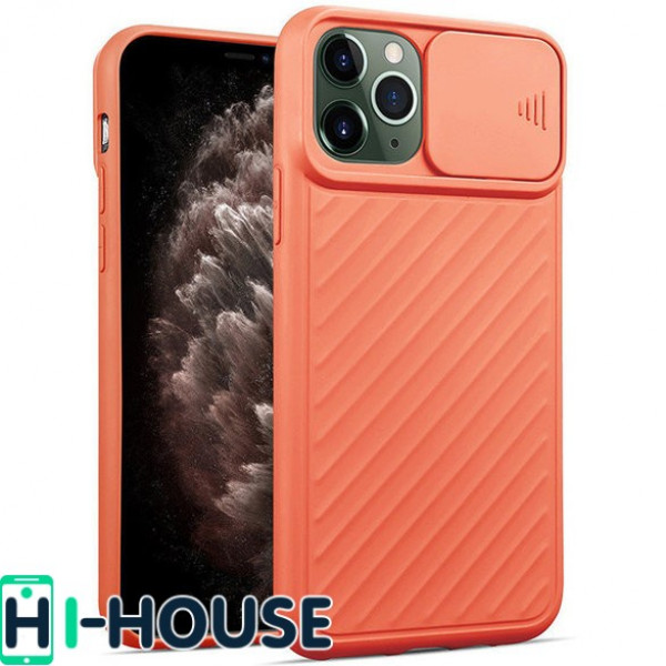 Чехол для iPhone 11 Pro Max CamShield (со шторкой для защиты камеры) TPU (Peach)