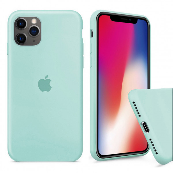 Чехол Silicone Case Full для iPhone 11 Pro Max (Sea Blue)