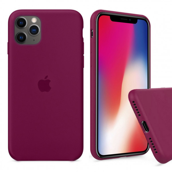 Чехол Silicone Case Full для iPhone 11 Pro Max (Rose Red)