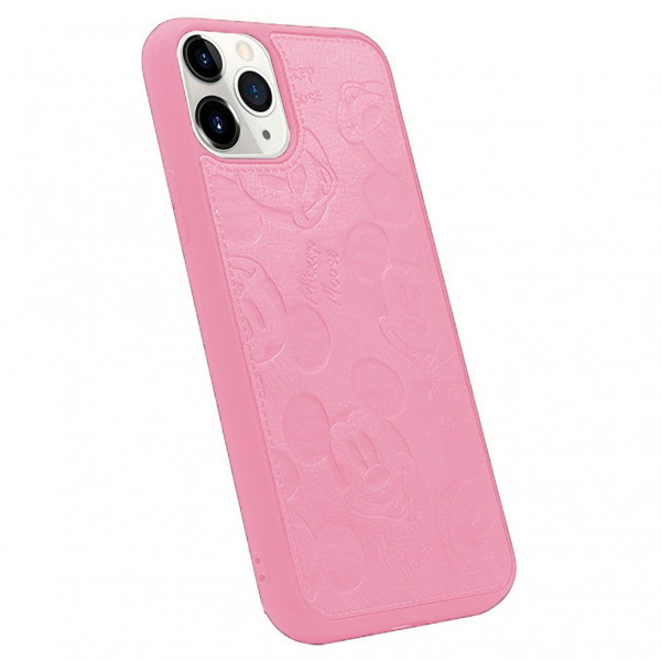 Чехол накладка MyTouch для iPhone 11 Pro Max Mickey Mouse Faux Leather (Pink)