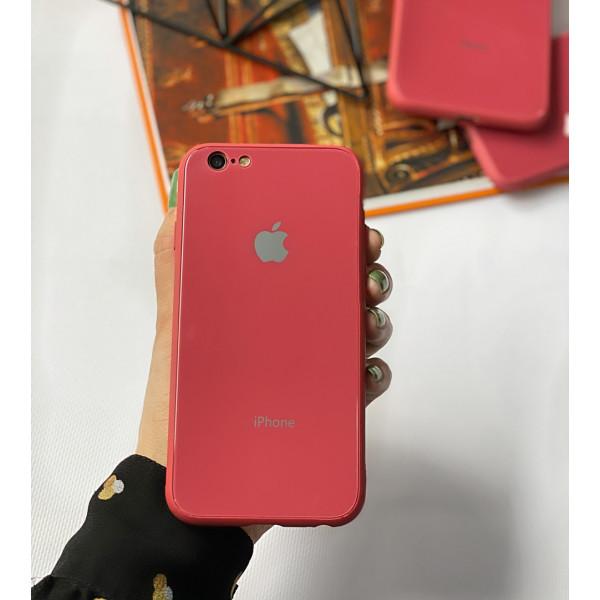 Чехол Glass Pastel color Logo для iPhone 6 / 6s (Camellia)