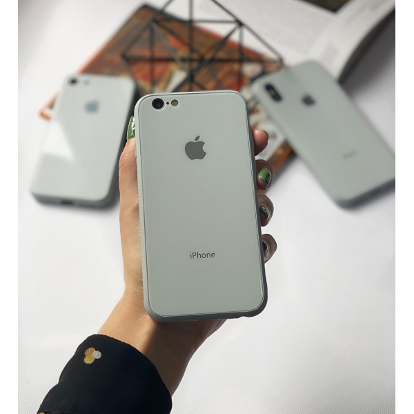 Чехол Glass Pastel color Logo для iPhone 6 / 6s (Mist Blue)
