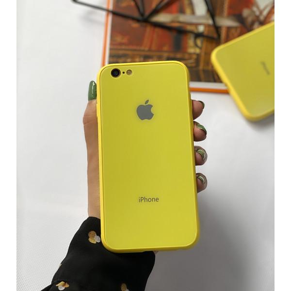 Чехол Glass Pastel color Logo для iPhone 6 / 6s (Yellow)