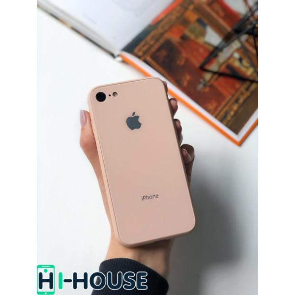 Чехол Glass Pastel color Logo на iPhone 7 / 8 / SE (2020) (Pink Sand)