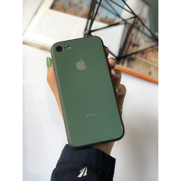 Чехол Glass Pastel color Logo на iPhone 7 / 8 / SE (2020) (Forest Green)