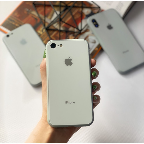 Чехол Glass Pastel color Logo на iPhone 7 / 8 / SE (2020) (Mist Blue)