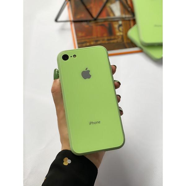 Чехол Glass Pastel color Logo на iPhone 7 / 8 / SE (2020) (Mint)
