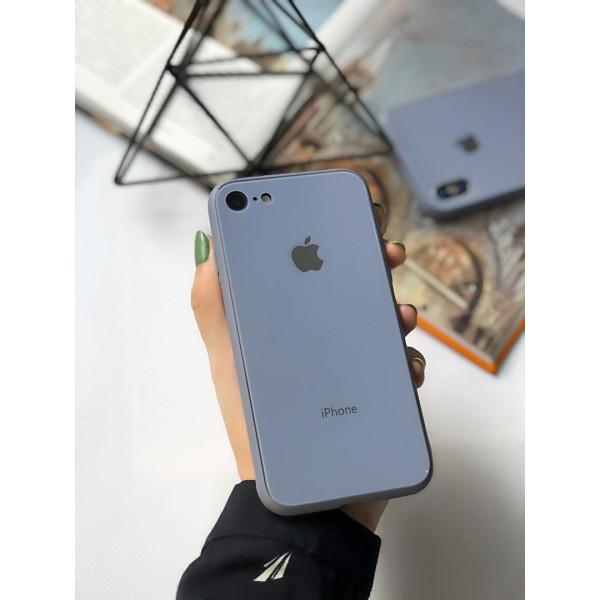Чехол Glass Pastel color Logo на iPhone 7 / 8 / SE (2020) (Lavender Gray)