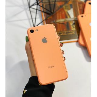 Чехол Glass Pastel color Logo на iPhone 7 / 8 / SE (2020) (Peach)