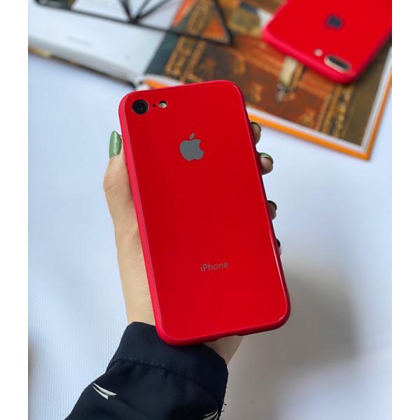Чехол Glass Pastel color Logo на iPhone 7 / 8 / SE (2020) (Red)