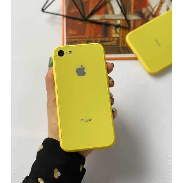 Чехол Glass Pastel color Logo на iPhone 7 / 8 / SE (2020) (Yellow)