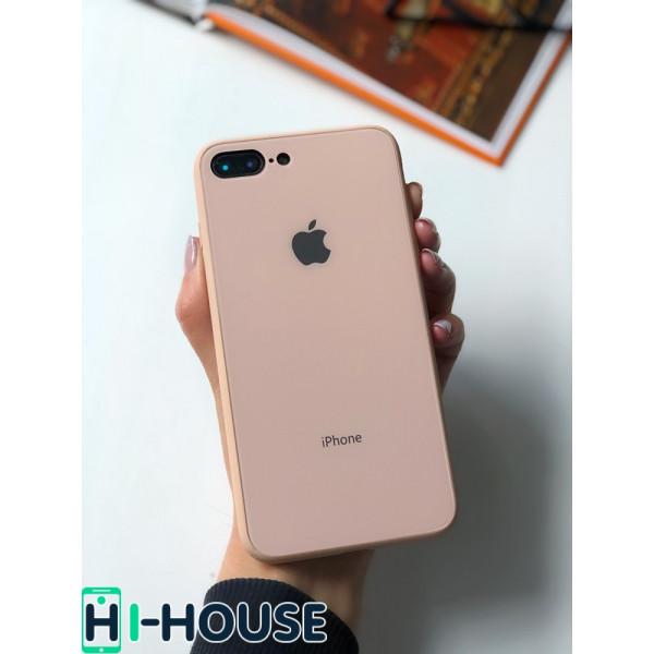 Чехол Glass Pastel color Logo для iPhone 7 Plus / 8 Plus (Pink Sand)